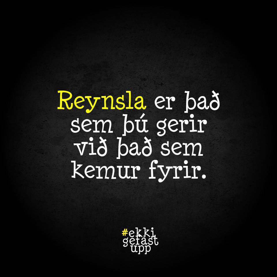 Reynsla er það sem þú gerir við það sem kemur fyrir.
