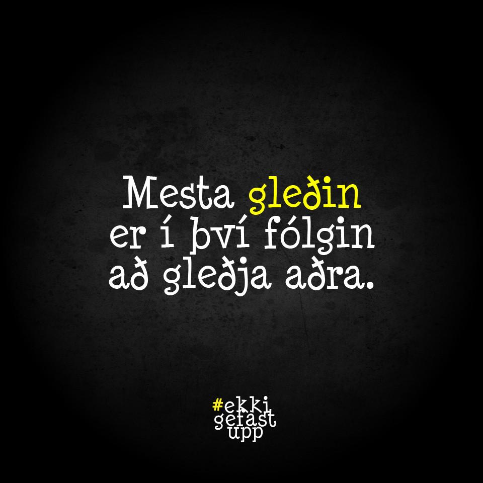 Mesta gleðin er í því fólgin að gleðja aðra.