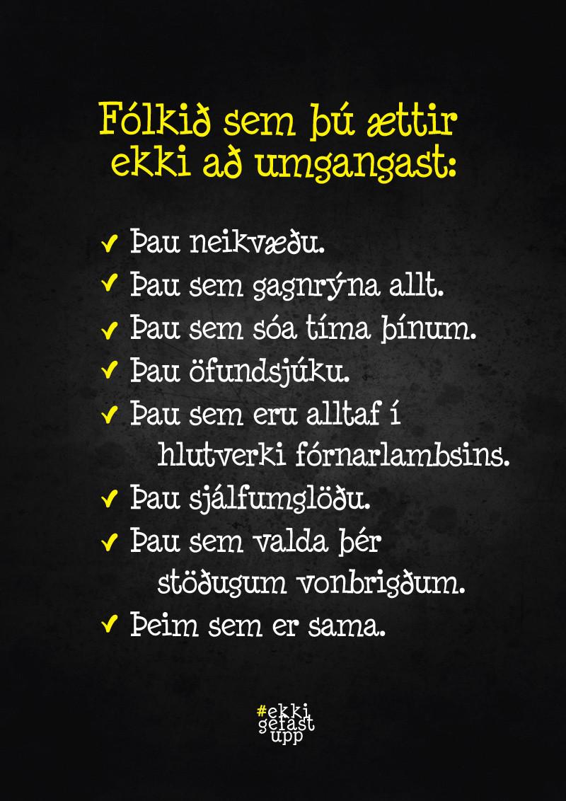 Fólkið sem þú ættir ekki að umgangast