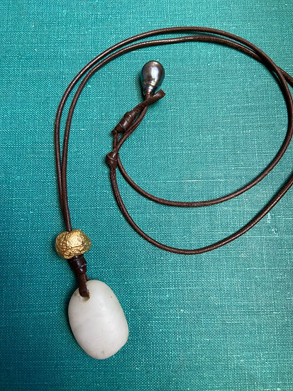 White Pacific Ocean Stone & Gold