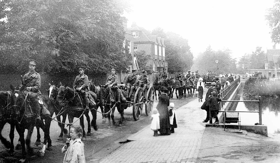 WW1 Troops & Horses in High Street by  P