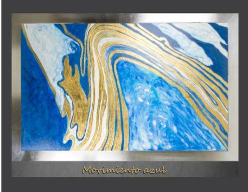 Cuadro pintado al Oleo, modelo Movimiento Azul