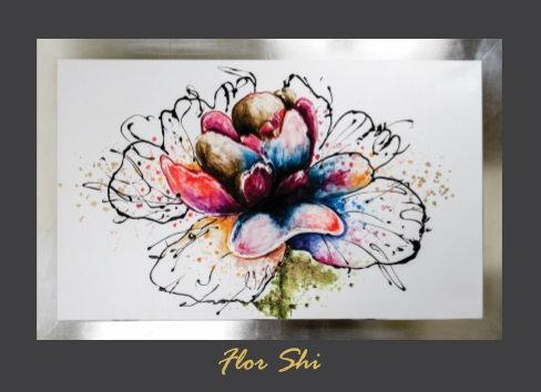 Cuadro pintado al Oleo, modelo flor shi