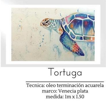 Cuadro pintado al Oleo modelo Tortuga