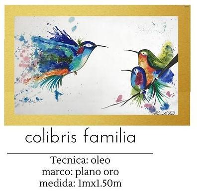 Cuadro pintado al Oleo modelo colibris familia