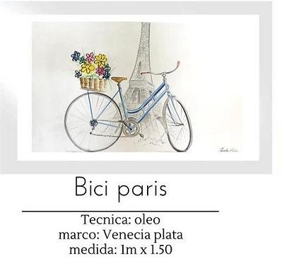 Cuadro pintado al Oleo modelo Bici Paris