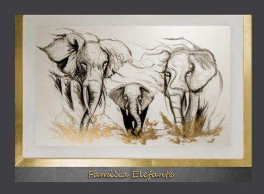 Cuadro pintado al Ole modelo Familia Elefante