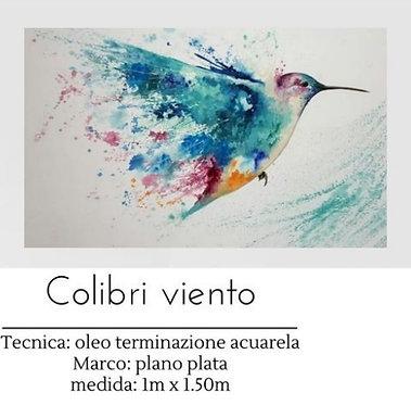 Cuadro pintado al Oleo modelo Colibri Viento