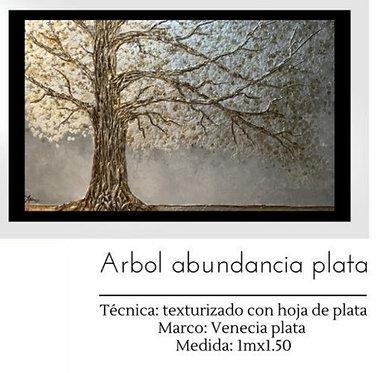 Cuadro pintado al Oleo modelo Arbol Abundancia Plata