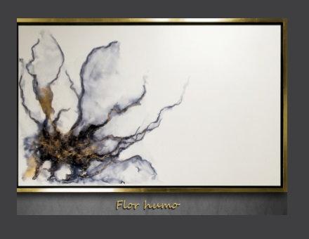 Cuadro pintado al Oleo, modelo Flor Humo