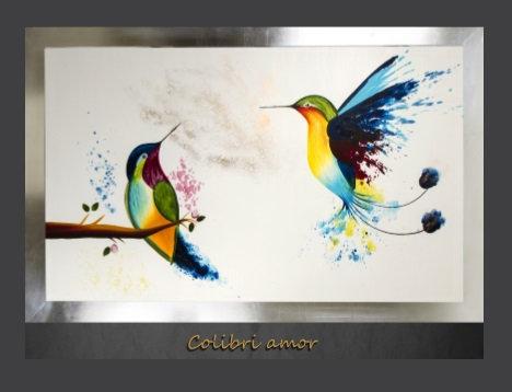 Cuadro pintado al Ole modelo Colibri Amor
