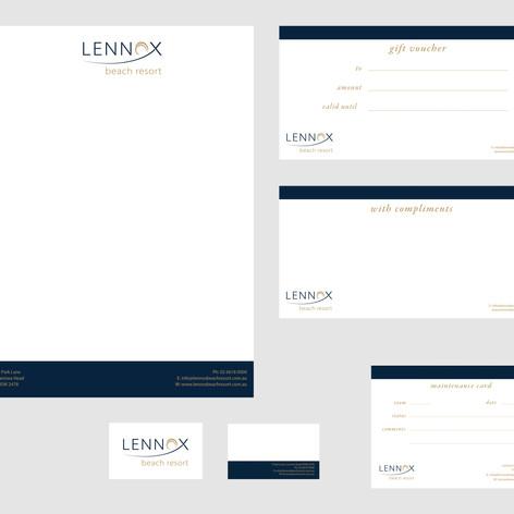 Branding collateral for Lennox Beach Resort