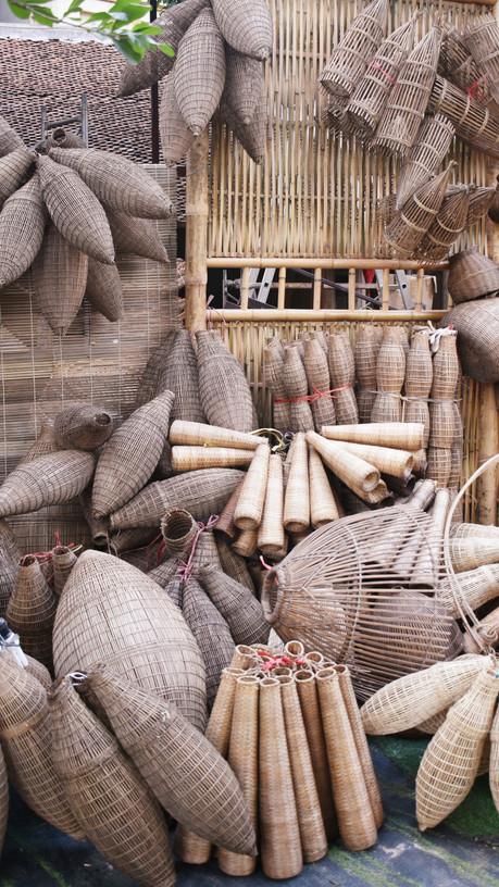 Trappes à poisson en bambou