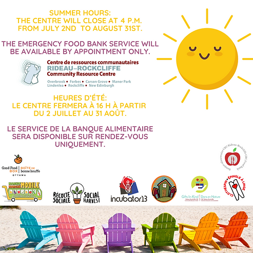 SUMMER HOURS The Centre will close at 4