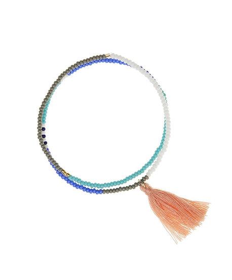 Bracelet élastique Tassel Wrap Cornflower Blue - SIDAI DESIGNS