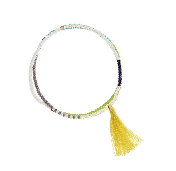 Bracelet élastique Tassel Wrap Lime - SIDAI DESIGNS