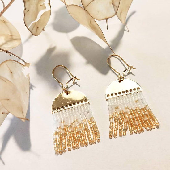Boucles d'oreille White and Gold Landscape - Camoomille