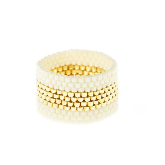Bague Wide Woven Cream/Gold - SIDAI DESIGNS