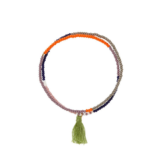 Bracelet élastique Tassel Wrap Navy - SIDAI DESIGNS