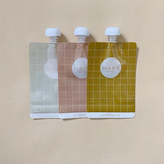 Lot de 3 gourdes à compote/smoothie WARM réutilisables - HAPS NORDIC