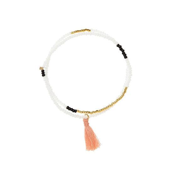 Bracelet élastique Tassel Wrap White - SIDAI DESIGNS
