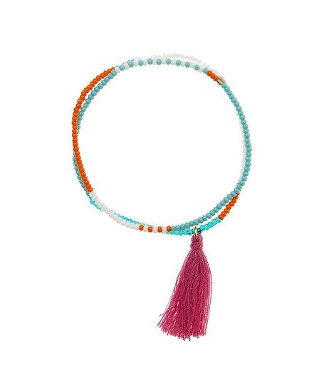 Bracelet élastique Tassel Wrap Turquoise - SIDAI DESIGNS