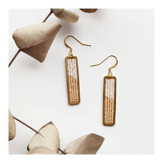 Boucles d'oreilles Rectangle White & Beige - CAMOOMILLE
