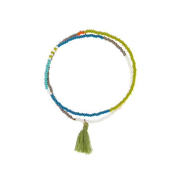 Bracelet élastique Tassel Wrap Olive - SIDAI DESIGNS