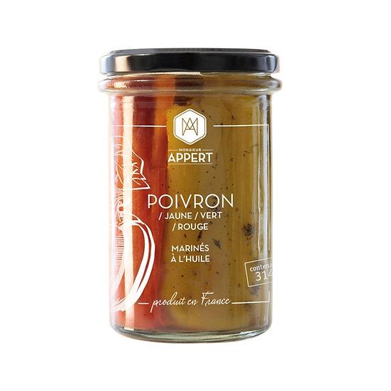 Poivrons jaune / vert / rouge marinés à l'huile - MONSIEUR APPERT