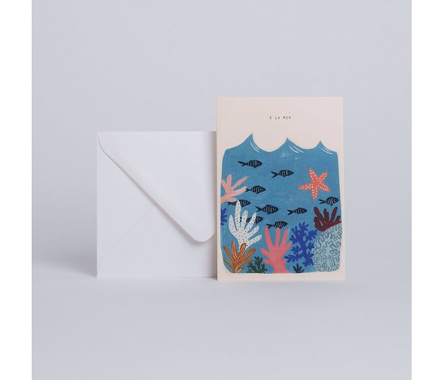 "Carte Corail ""À la mer"" - SEASON PAPER"