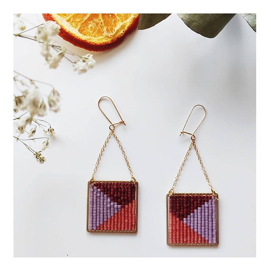 Boucles d'oreille Geometric Square Trio  - CAMOOMILLE