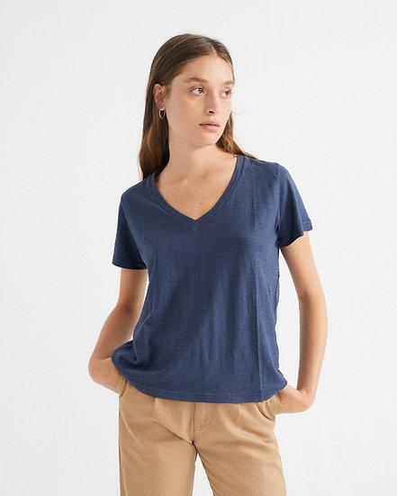 T-Shirt Navy Hemp Clavel - THINKING MU