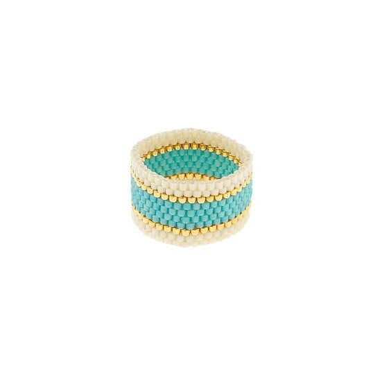 Bague Wide Woven Turquoise - SIDAI DESIGNS