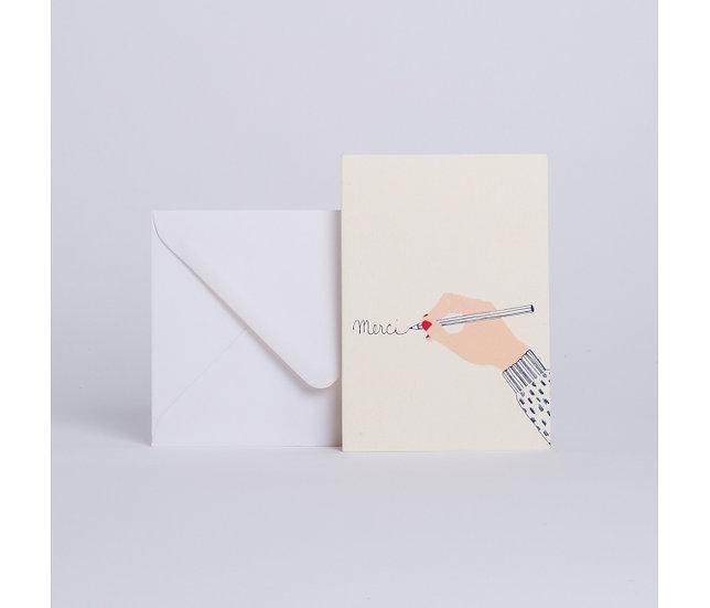 "Carte à la main ""Merci"" - SEASON PAPER"