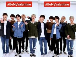 Campanha do Tik Tok para o Valetine's Day #Bemyvalentine com o TXT... Demonstra popularidade global