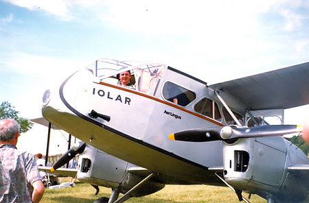 Fia in the Aer Lingus Dragon Rapide Iola