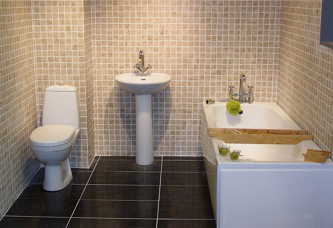 Bathroom, sink, and toilet