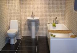 Bathroom, sink, and toilet