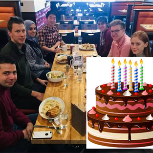 January 2020 - Group lunch at Boston Pizza and celebration of Ahmed's birthday (with huge cake!)