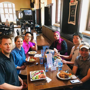 August 2019 - Group lunch at the Phoenix to celebrate the end of the summer term, welcome Chnyang to the group, and celebrate Melissa and Michael on their successful summer research stay with the group!