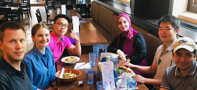 Group lunch at the Phoenix to celebrate the end of the summer term, welcome Chunyang to the group, and congratulate Melissa and Michael on their successful summer research stay with the group! (August 2019)