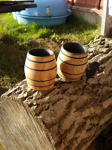 Oak whiskey barrel tumblers
