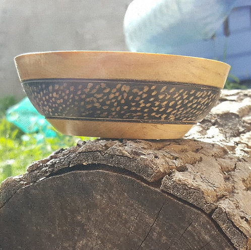 Small bowl made from birch with acrylic paint and texture