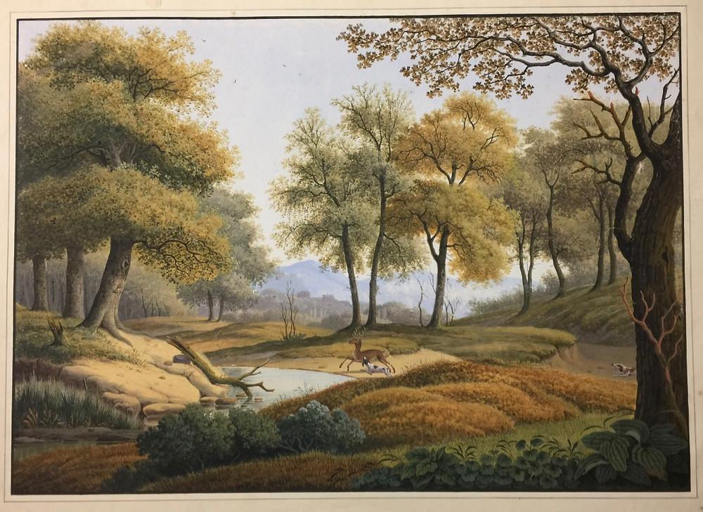 Landschap met herten door Henri Knip