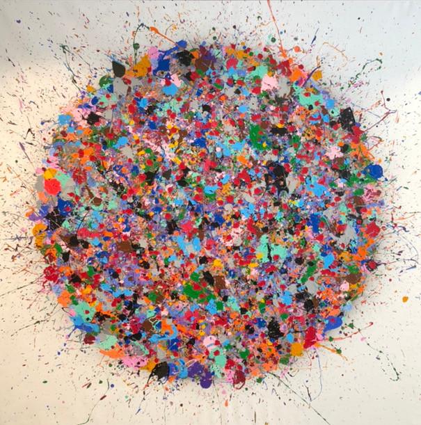 Kleurrijk schilderij, ronde vorm