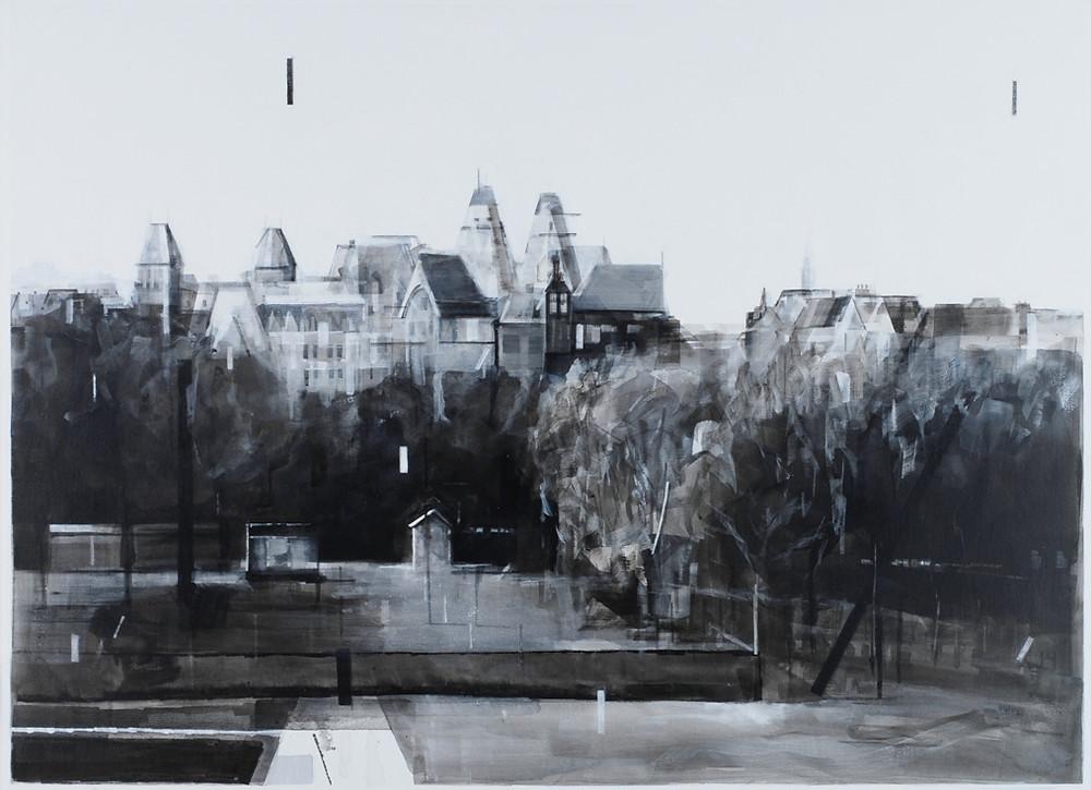 Zicht op het Rijksmuseum vanuit het Leidse Bosje