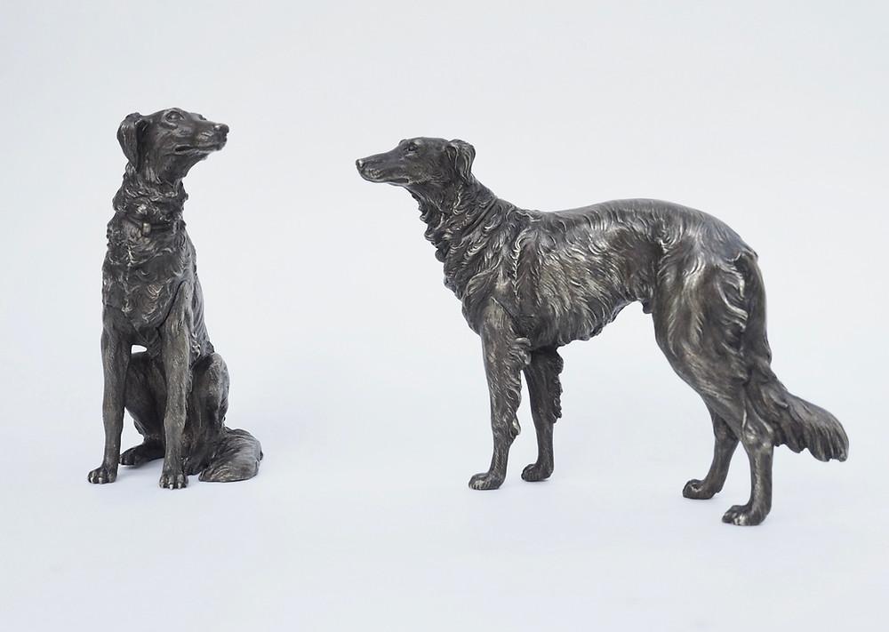 Miniature bronze Barzoi dogs