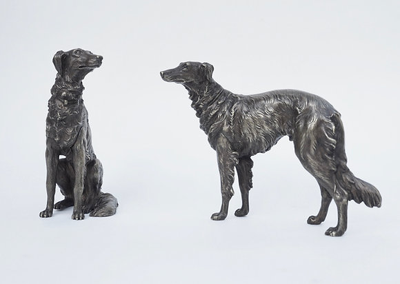 A pair of bronze miniature Barzoi dogs