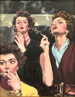 Three women smoking.