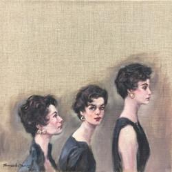 Walking. Three women.